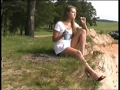 Pissing Slut Smokes And Drinks Outdoors