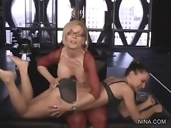 Mature Lesbian Teaches A Younger Lady How To Take Dick