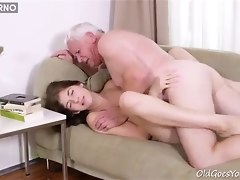 Lucky Old Man Getting His Dirty Dick In Teen Snatch