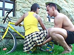 Horny Young Bike Slut Treated To Big Cock